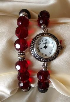 Womens Red Bead Aromatherapy Diffuser Watch Bracelet Set with Essential Oil Top Essential Oils, Beaded Watches, Aromatherapy Oils, Perfume Oils, Bracelet Set, Watch Bands, Pure Products, Beads, Gifts