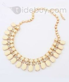 Suave Luxurious Alloy with Rhinestone Beige Necklace : Tidebuy.com