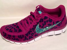 Nike Free 5.0 v4 with Swarovski swoosh Pink and Green on Etsy, $198.00