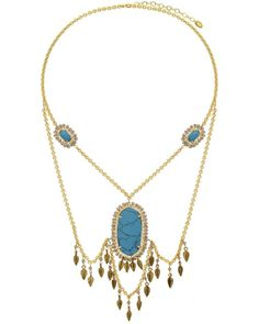 Know-My-Statement Quartz Necklace (Blue Turquoise) #necklace #necklaces #statementnecklace #statementnecklaces #jewelry #gold #goldplated