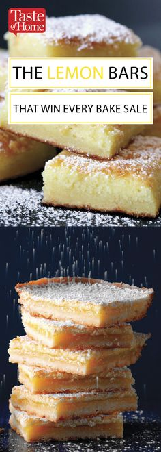 The Lemon Bars That Win Every Bake Sale Easy, fast and totally delicious. This is the recipe for tangy, sweet lemon bars you need in your life. Bake Sale Treats, Bake Sale Recipes, Baking Recipes, Bake Sale Food, Bake Sale Cookies, Baking Tips, Lemon Desserts, Köstliche Desserts, Dessert Recipes