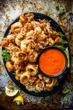Gluten-free Crispy Fried Calamari with Spicy Marinara