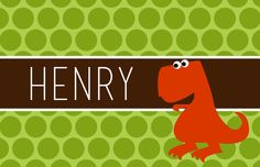 """Personalized Placemat - matches kids plate and dishsets laminated 12x18"""" dinosaur"""