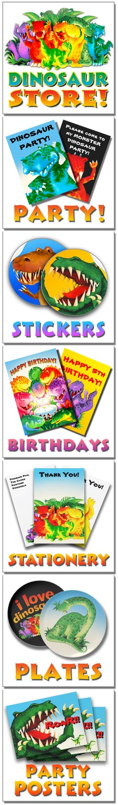Paul Stickland Dinosaur Themed Party Ideas from DinosaurStore. Going to need this for David's 3rd birthday.