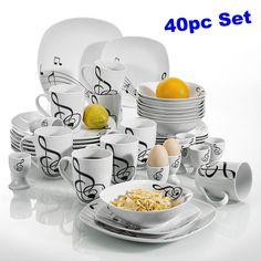 40pc Porcelain Dinnerware Set Kitchen Dinner Egg Cup Mug Bowl Plates Dish Modern