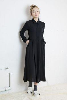 Gingham Check Shirt Style Long Chiffon Dress - THE WHITEPEPPER