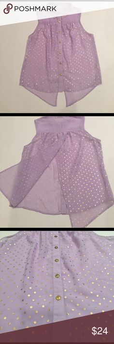 """Mine brand sheer lavender top w/gold polka dots L Pretty and unique sheer lavender top w/gold polka dots and buttons.  Open fly away back.  Armpit to armpit 20"""", shoulder to hem 24.5"""". Mine Tops"""