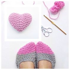Crochet Slippers and Mini Heart with Free Pattern  #diy #crafts #crochetpattern