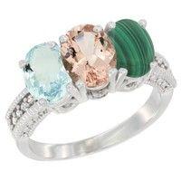 Wish | 14K White Gold Natural Aquamarine, Morganite & Malachite Ring 3-Stone Oval 7x5 mm Diamond Accent, sizes 5 - 10