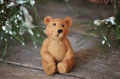 Needle Felting Kit - Bear - DIY craft - learn how to needle felt - DIY felted miniature
