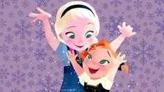 Cute! Anna and Elsa as Kids