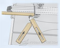Band Saw Hold-In - Band Saw Tips, Jigs and Fixtures - Woodwork, Woodworking, Woodworking Plans, Woodworking Projects Woodworking Projects Diy, Woodworking Jigs, Wood Projects, Table Saw Sled, Hand Saw, Basic Tools, Homemade Tools, Cordless Drill, Clothes Hanger