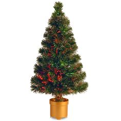 National Tree 32 Inch Fiber Optic Evergreen Firework Tree with Multicolor Lights in Gold Base (SZEX7-100L-32-1) >>> More forbidden discounts at the link of image : Christmas Trees