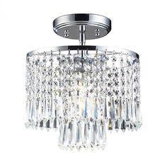 One Light Polished Chrome Drum Shade Semi-Flush Mount : 5YDT | Richardson Lighting