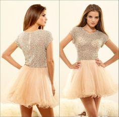Luxury Beauty Crew Neck Short Sleeves Cocktail Party Dresses Beaded Tulle with Sequins Mini A-line Zipper Shining Homecoming Dress 2015 Sexy Online with $131.94/Piece on Marrysa's Store | DHgate.com