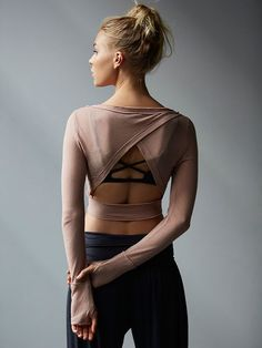 Battu Cover Up | Sheer cropped long sleeve studio top. Move freely with Picot Performance surplice cutout on back, raw seam detailing, and thumbholes. *By FP Movement *FP Movement is an entirely new activewear collection, designed to nourish your mind, body, and free spirit.: