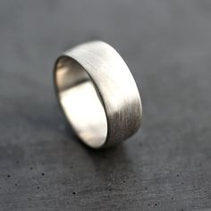 Wide Men's White Gold Wedding Band Recycled 14k by TheSlyFox