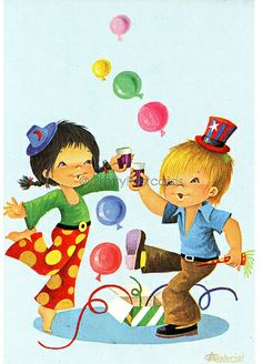 It's Party Time - Vintage Postcard of a Big Eyed Girl and Boy by Gabriel | Flickr - Photo Sharing!