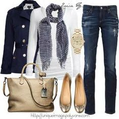 Love this outfit! The white, gold, and navy blue give this a nautical look that's still appropriate for fall!