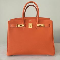 Hermès 35cm Birkin   Orange Togo Leather   Gold Hardware   2015/T