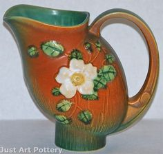 Roseville Pottery White Rose Brown and Green Pitcher 1324 from Just Art Pottery Vintage Pottery, Pottery Art, Roseville Pottery, Vintage Planters, White Roses, Tea Set, American Art, Peonies, Funny Things