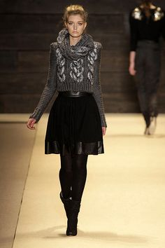 Charcoal knit, skirt, opaque tights