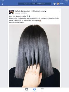 Hair Color And Cut, Cool Hair Color, Balayage Hair Bob, Aveda Hair Color, Dark Grey Hair, Hair Color Formulas, Bright Hair Colors, Creative Hairstyles, Bleached Hair