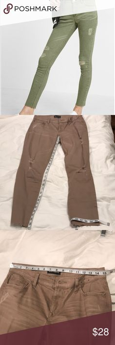 Express khaki destroyed jeans Like new. Worn once. These run a slight bit smaller than some of my other size 6 Express jeans. See photos for measurements. Express Jeans Skinny