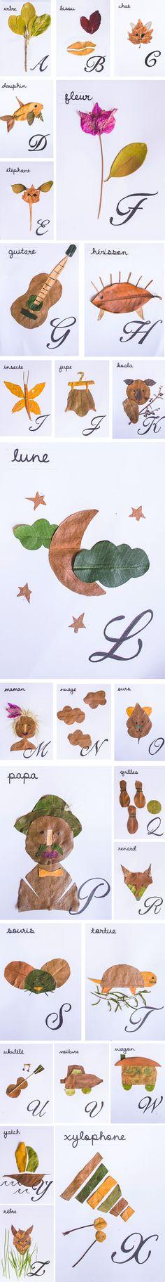 DIY herbier alphabet par Natacha Birds http://www.natacha-birds.fr/leblog/diy-alphabet-feuilles/
