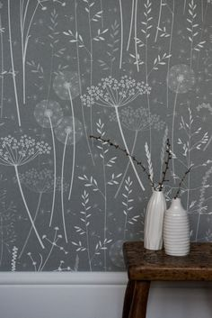 buy Charcoal Paper Meadow Wallpaper by Hannah Nunn online from Live Like the Boy home of characterful paints, wallpaper, furniture and lighting in Colne UK Home Wallpaper, Nature Wallpaper, Kitchen Wallpaper, Beautiful Wallpaper, Grey Bedroom Wallpaper, Scandi Wallpaper, Dandelion Wallpaper, Cottage Wallpaper, Rustic Wallpaper