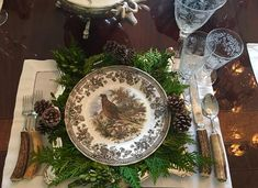 The Entertaining Diaries Chapter 2 - The Enchanted Home. The plate is Spode's Woodland Pheasant Fall Table Settings, Thanksgiving Table Settings, Beautiful Table Settings, Thanksgiving Tablescapes, Holiday Tables, Thanksgiving Decorations, Table Decorations, Place Settings, Scandinavian Christmas Trees