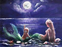Mom and baby looking at the moon Mutter und Baby, die den Mond betrachten Mermaid Drawings, Mermaid Island, Fantasy Art, Mermaid, Mythical Creatures, Mermaid Painting, Art, Mermaid Art, Mermaid Dreams