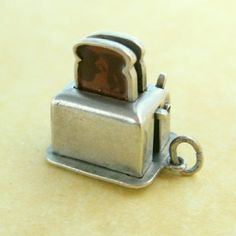 Vintage Charm 1950s Sterling Silver Enamel Pop Up Movable Toaster ~ Sturdy One #Unbranded #VintageMovableCharm