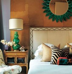 Caramel and Emerald...Love!  Great detail on headboard...