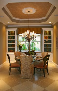 Would love to lower my dining room ceiling and build in a tray ceiling.  Like the built-ins as well.