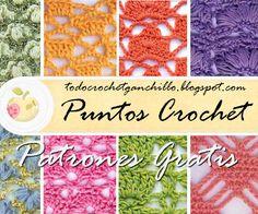 Patrones de puntos calados para tejer al crochet  http://www.detodocrochet.com/2015/07/17-esquemas-de-puntos-crochet-para.html