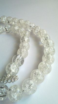 Clear Crackle Glass Necklace