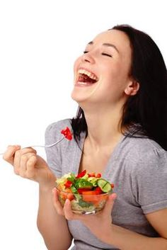 Young Attractive Woman Eats Vegetable Salad by Kobyakov. Young Attractive Woman Eats Vegetable Salad Using Fork, Isolated Over White Healthy Dog Treats, Healthy Foods To Eat, Healthy Kids, Healthy Eating, Diet Soup Recipes, Dog Recipes, Women Laughing, People Laughing, Bacon And Egg Casserole