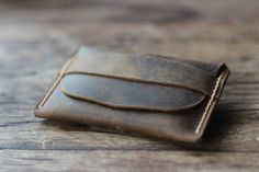 Men's Leather Wallet -- Unique Groomsmen Gifts -- Simple Distressed Leather Wallets - 014