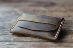Men's Leather Wallet Unique Groomsmen Gifts Simple by JooJoobs, $19.00