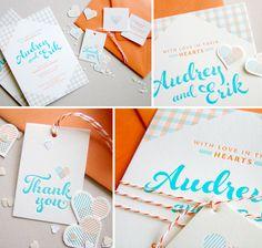Love these Orange Aqua invitations