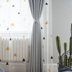 Custom Curtains Children's Room Curtains Semi-Sheer White Triangle Embroidery Window Or Door Voile Curtain Pair Panel Blackout - Room decor -