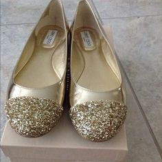HP 3/11  BRAND NEW!!! Jimmy Choo Whirl Flats Champagne Mirror Leather/Glitter finish. Brand new. Box and dust bag included. Jimmy Choo Shoes Flats & Loafers