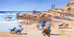 Frolicking Friends  WENDY GAUNTLETT-SHAW - ARTIST  Del Mar Dog Beach