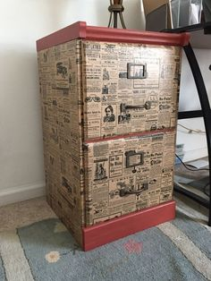 File Cabinet upcycle with Wrapping Paper