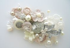 Blush Lace Pearl Hair Comb, $59.00, via Etsy / Shabby