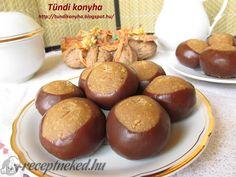Gesztenyegolyó recept Hungarian Desserts, Cookie Cups, Sugar Art, International Recipes, Cakes And More, Pretzel Bites, Christmas Cookies, Dessert Recipes, Food And Drink