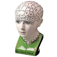 1stdibs.com | Phrenology head Scottish Pottery c1835 Reminiscing about Hilda, our SLP science cadaver...she taught me everything I know about the thyroid and up!   UPDATE:  Saw a replica of this at Marshalls/Home Goods in August!