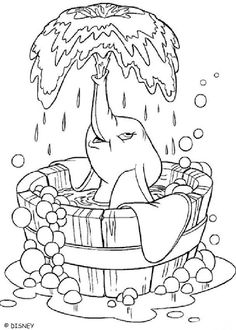 Dumbos Bath Coloring Page Warm Up Your Imagination And Color Nicely This From Dumbo Pages