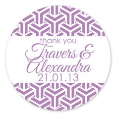 African Violet Personalised Circle Wedding Favour Stickers (Set of 35)